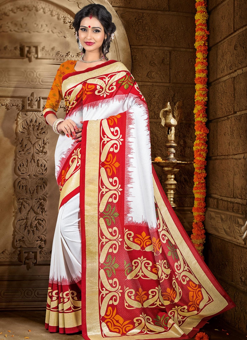 Auspicious White And Red Color Casual Saree