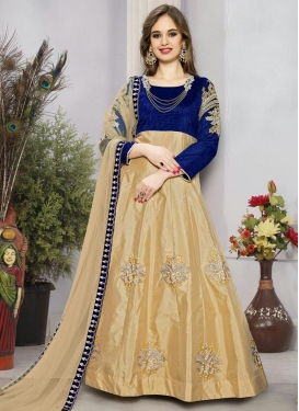 Awe Beige and Navy Blue  Ankle Length Anarkali Suit For Ceremonial