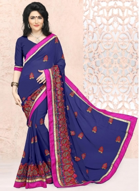 Awe Booti Work Faux Georgette Classic Saree