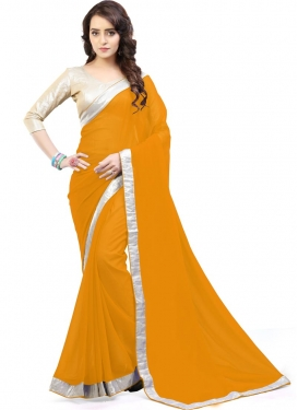 Awe Lace Work Faux Georgette Classic Saree For Casual