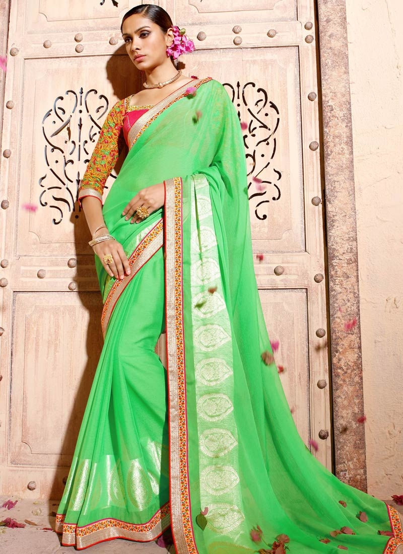 Awe Mint Green Color Faux Chiffon Party Wear Saree