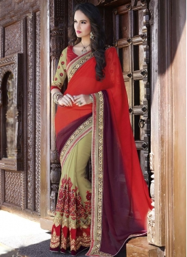 Awe Patch Border Work Red Color Wedding Saree