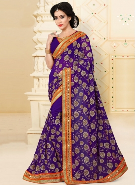 Awe Pure Georgette Embroidered Work Designer Contemporary Saree For Ceremonial