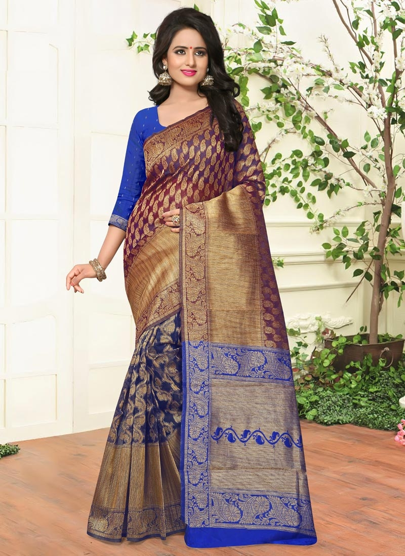 470643a387 Awe Resham Work Banarasi Silk Blue and Gold Classic Saree For Ceremonial