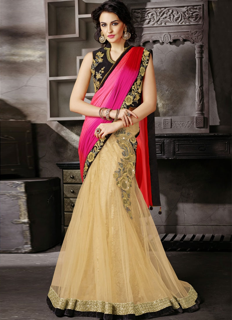 Awe Stones And Beads Enhanced Lehenga Saree