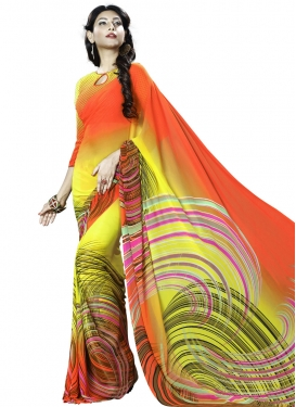 Awe Tomato and Yellow  Faux Georgette Traditional Saree