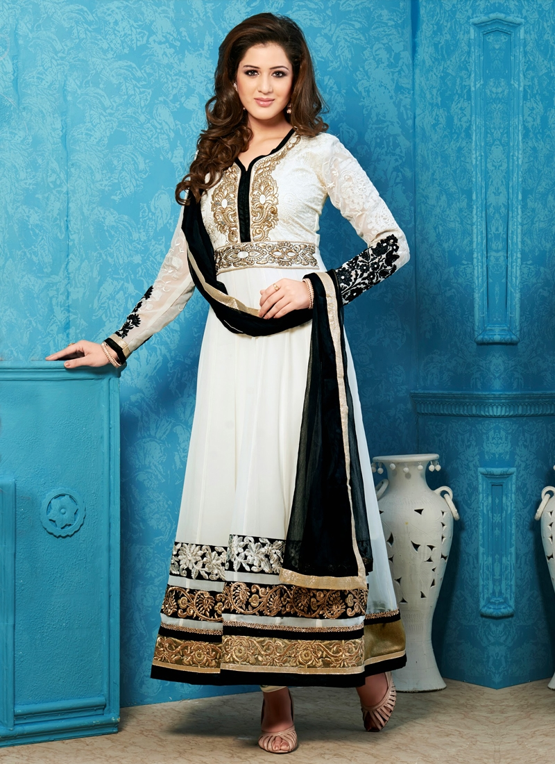Awesome Chicken And Lace Work Anarkali Suit