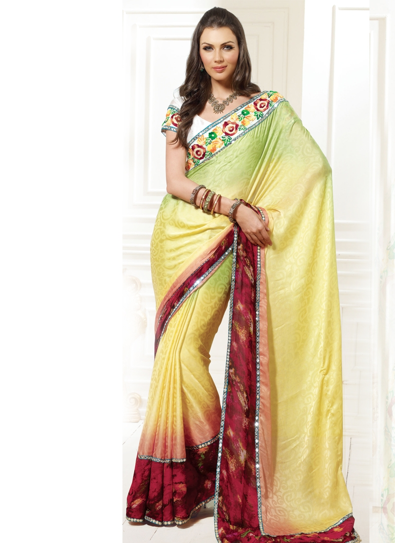 Awesome Chicken Enhanced Party Wear Saree