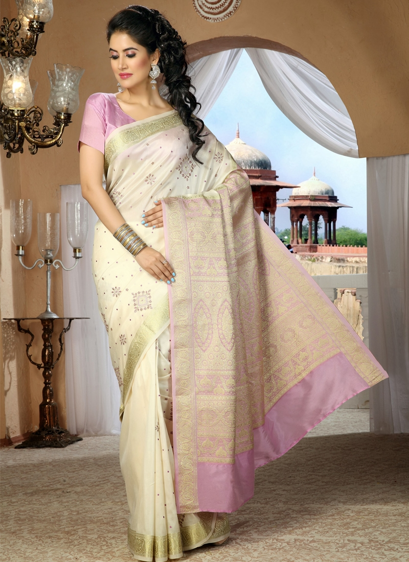 Awesome Cream And Pink Party Wear Saree