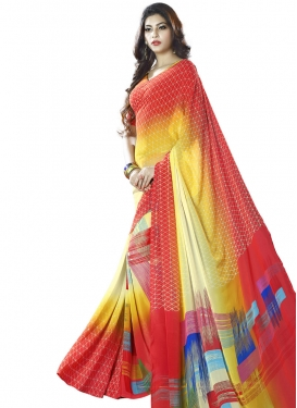 Awesome Cream and Red  Faux Georgette Trendy Classic Saree
