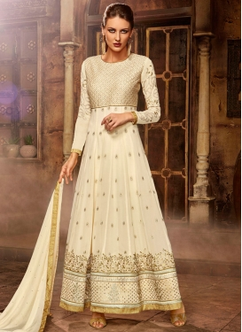 Awesome Cream Embroidered Work Floor Length Anarkali Salwar Suit