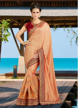 Awesome  Embroidered Work Classic Saree For Bridal
