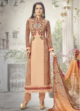 Awesome Embroidered Work Faux Georgette Straight Pakistani Salwar Suit For Festival