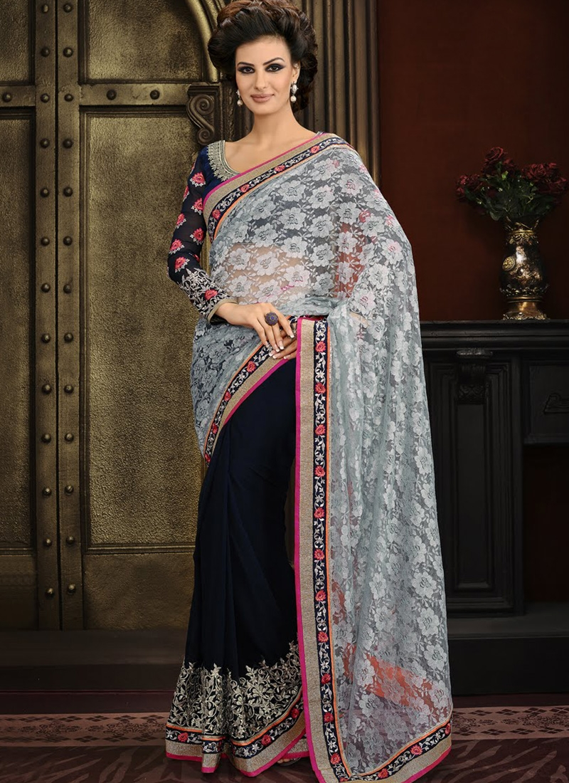 Awesome Embroidery Work Half N Half Designer Saree