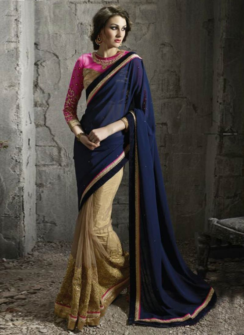 Awesome Faux Georgette And Net Half N Half Designer Saree