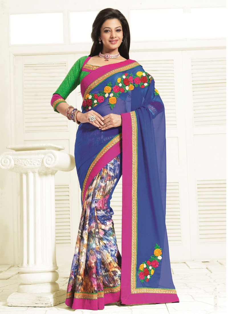 Awesome Floral Work Blue Color Party Wear Saree