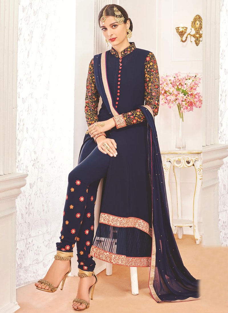 Awesome Floral Work Party Wear Salwar Kameez