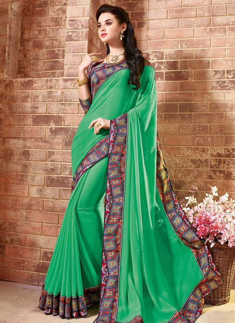 Awesome Green Color Lace Work Party Wear Saree