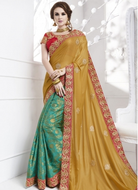 Awesome Jacquard Booti Work Half N Half Trendy Saree For Party