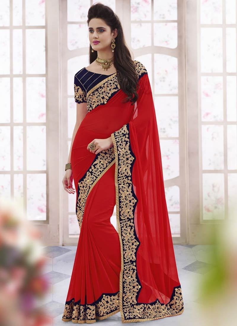 Awesome Lace And Stone Work Designer Saree
