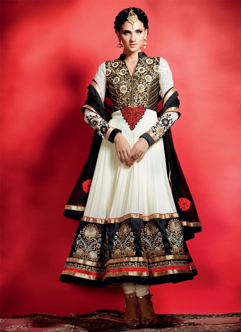 Awesome Off White Color Georgette Anarkali Suit