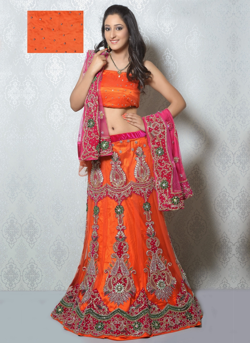 Awesome Orange Color Net Bridal Lehenga Choli