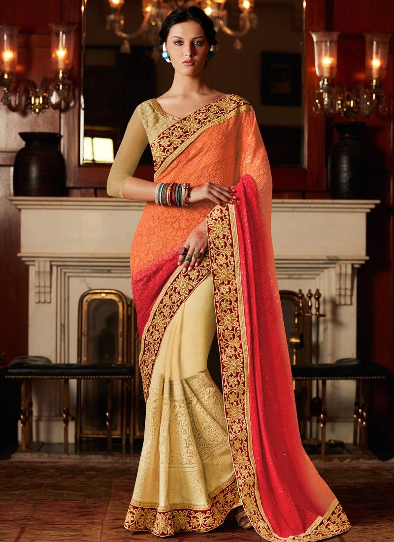 Awesome Orange Color Resham Work Half N Half Wedding Saree
