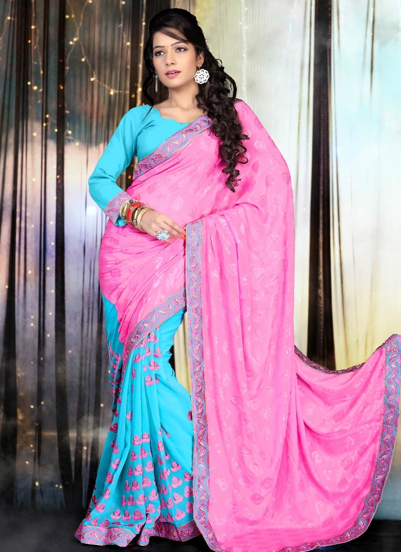 Awesome Resham And Stone Work Half N Half Party Wear Saree