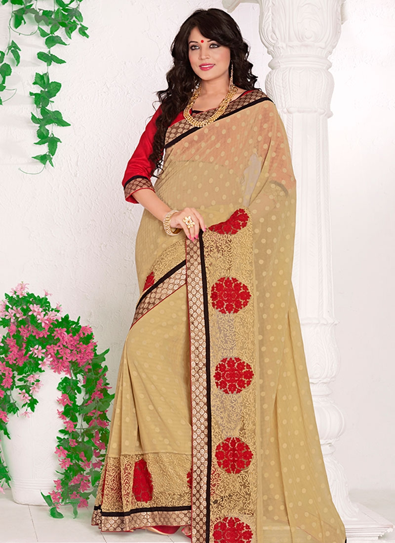 Awesome Resham Work Beige Color Party Wear Saree