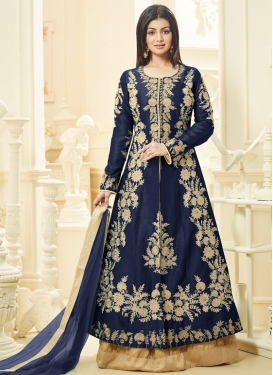 Ayesha Takia Beige and Navy Blue Designer Kameez Style Lehenga Choli For Ceremonial