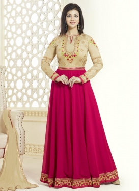 Ayesha Takia Cream and Rose Pink Embroidered Work Salwar suit