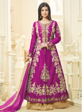 Ayesha Takia Embroidered Work Beige and Magenta Art Silk Kameez Style Lehenga Choli