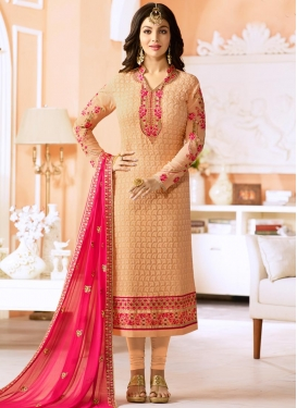 Ayesha Takia Embroidered Work Faux Georgette Trendy Pakistani Salwar Suit