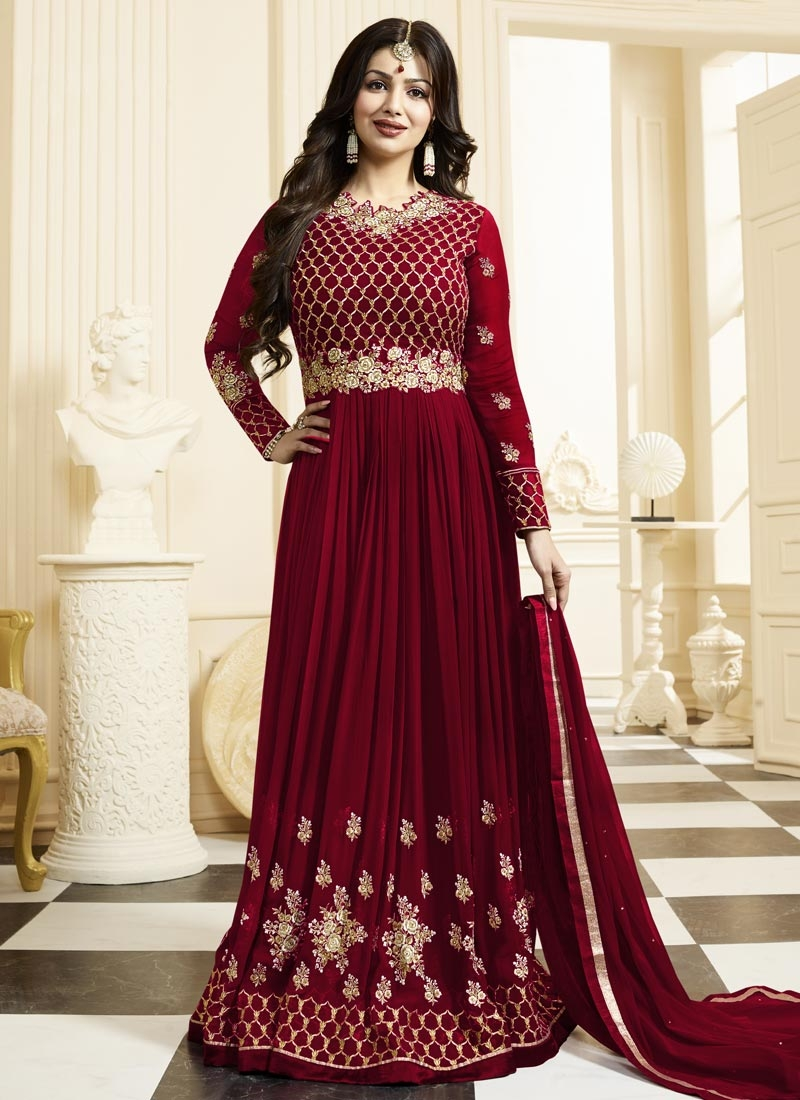 6129bf7663 Ayesha Takia Faux Georgette Embroidered Work Long Length Trendy Anarkali  Suit