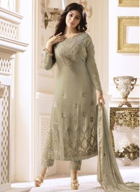 Ayesha Takia Faux Georgette Embroidered Work Pant Style Straight Salwar Suit