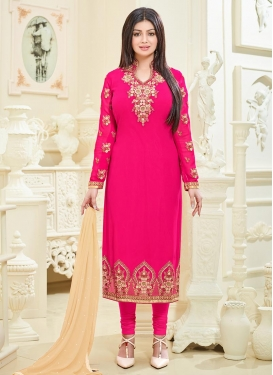 Ayesha Takia Faux Georgette Embroidered Work Straight Pakistani Salwar Kameez
