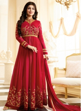 Ayesha Takia Faux Georgette Embroidered Work Trendy Salwar Kameez