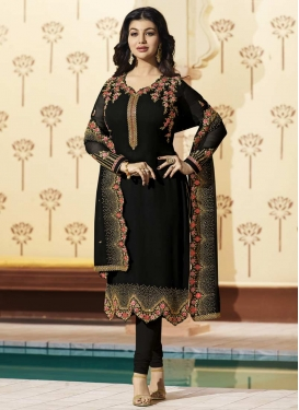 Ayesha Takia Faux Georgette Embroidered Work Trendy Straight Salwar Kameez