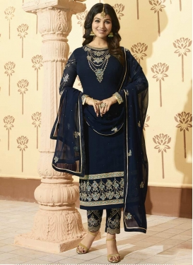 Ayesha Takia Faux Georgette Pant Style Straight Salwar Kameez