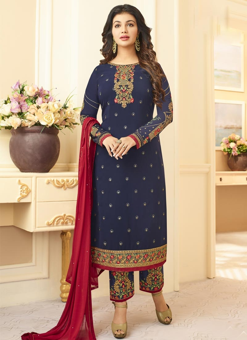 Ayesha Takia Faux Georgette Pant Style Straight Salwar Suit