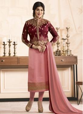Ayesha Takia Maroon and Pink Banglori Silk Jacket Style Salwar Kameez