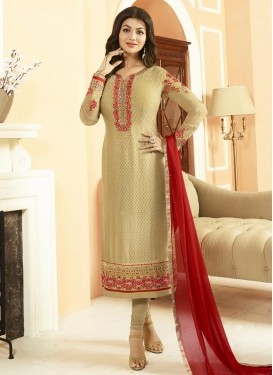 Ayesha Takia Pakistani Straight Salwar Kameez For Festival
