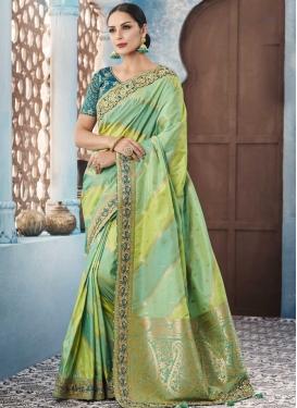 Banarasi Silk Aloe Veera Green and Aqua Blue Classic Saree For Festival