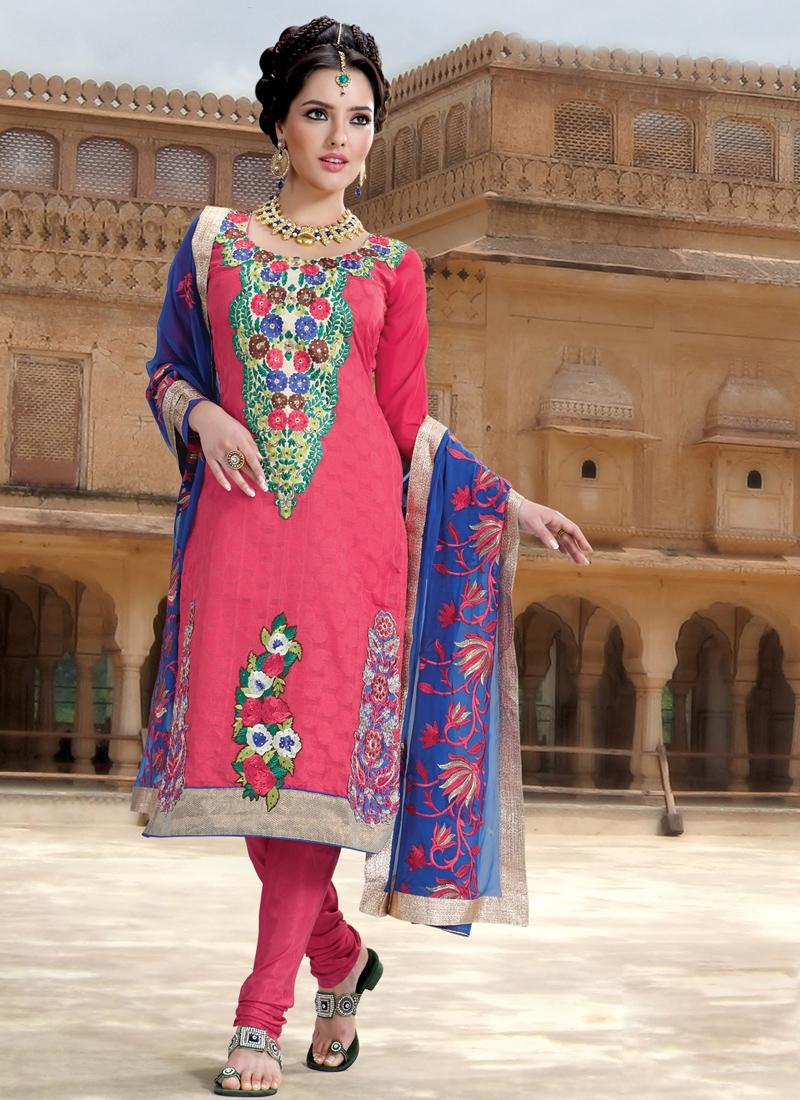 Banarasi Silk And Jacquard Churidar Suit