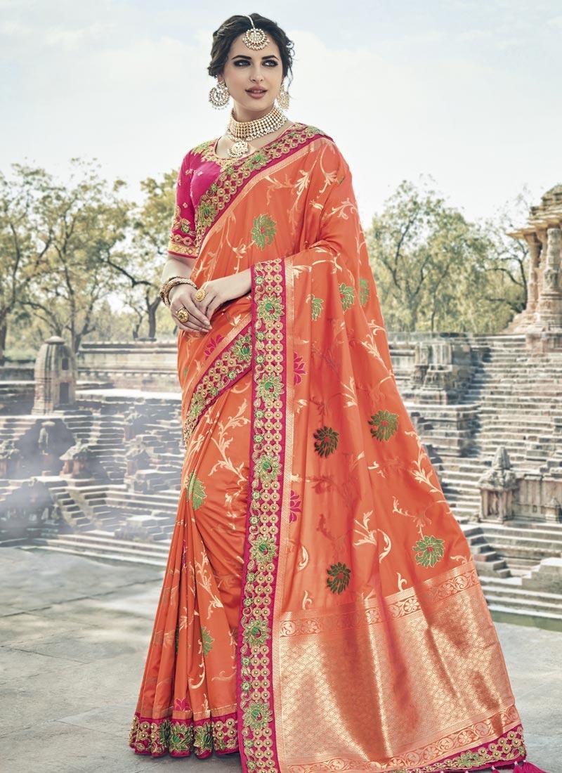 Shop Banarasi Silk Beads Work Contemporary Saree Online In Usa