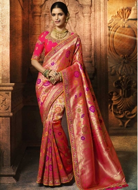 Banarasi Silk Beads Work Designer Contemporary Style Saree