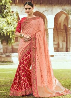 Banarasi Silk Beads Work Half N Half Designer Saree