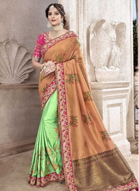 Banarasi Silk Beads Work Mint Green and Peach Designer Half N Half Saree