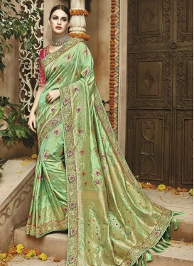 Banarasi Silk Beads Work Trendy Saree