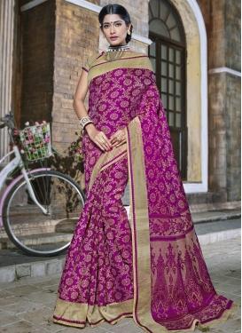 Banarasi Silk Beige and Fuchsia Traditional Saree For Ceremonial